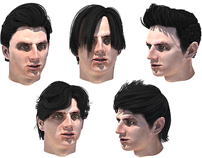Set male hairstyle 5 types 2 3D asset game-ready