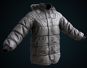 Gray winter jacket 3D asset
