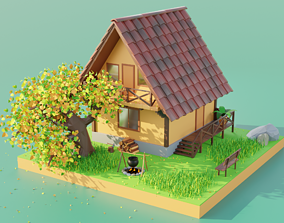 3D Forest House Scene