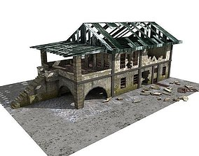 3D Lowpoly Abandoned Building 01