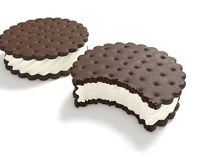 Ice Cream Sandwich Cookies Round bitten 3D