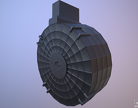 Round Drum Magazine - Weapon Attachment - PBR - 3D asset 2