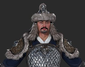 Barbarian soldiers in the Middle Ages Mongolian 3D asset 1