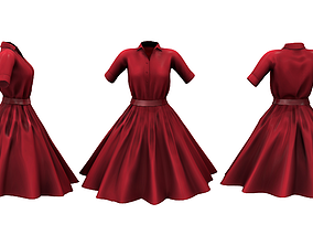 Retro Flare Out Skirt Shirt Dress 3D model