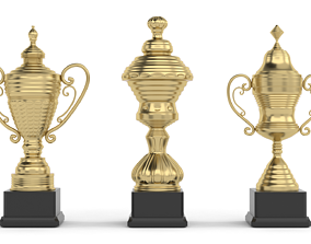 3D gold Trophy Cups