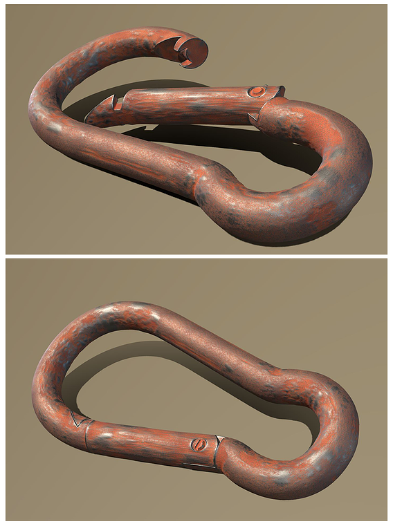 Rusty Carabiner - Karabinerhaken (High-Poly)