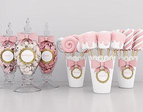 3D model meringue Candy jars 2
