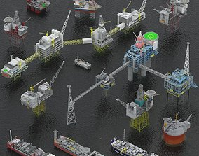 3D model realtime Oil rigs platform and FPSO pack