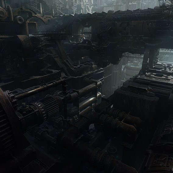 Derelict Ship Interior - Matte Painting