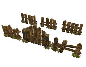 3D model Low Poly Fence Set 03