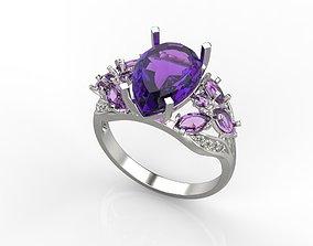 Women ring with gem pear cut 12x8 3dm stl