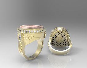 Art deco signet ring with oak leaves 3D print model