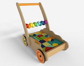 Wooden cart with baby blocks 3D asset
