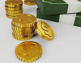 Pack of money cash and gold coins 3D