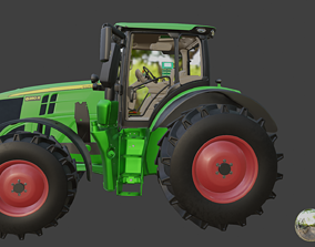 High quality realistic 3d model of JohnDeere 6R Series
