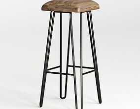 3D model Wood Top Iron Bar Stool