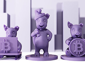 business 3D printable model New Year Bitcoin Pigs