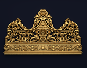 Classic Carved Bed 3D model 07