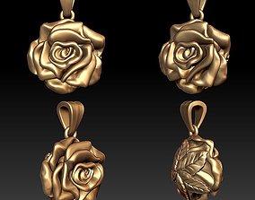 3D printable model leaf Rose pendant