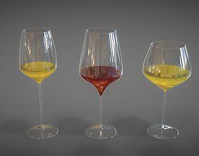 Wine glasses 3D model realtime