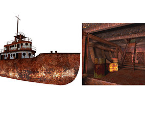 3D model Old Abandoned Rusted Ship with Interior