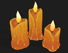 Stylized Melted Candles Pbr 3D model
