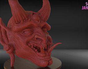 Japanese Oni Mask or Demon Mask Timelapse and Model