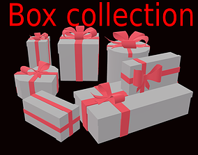 Christmas present collection box and bows 3d realtime