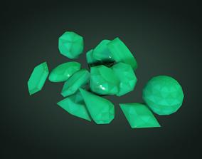Gemstone crystals set 3D asset