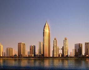 Modern Skyscrapers by the Water 3D
