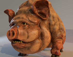 3D model Scary Pig fat