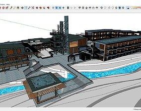 3D Sketchup hotel complex K7
