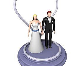 Wedding Cake Bride and Groom Figures 3D model