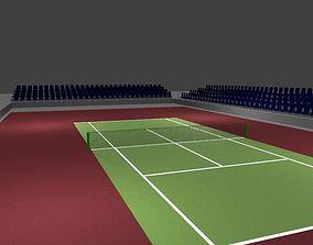 3D model game-ready Tennis Court