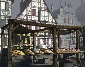 Medieval Market Place 3D asset