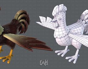 3D asset mesh Chicken cartoon baseV02