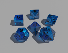 Blue Clear Dice Set 3D asset game-ready