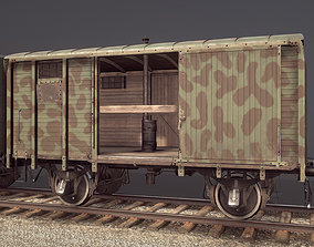 3D model Railway Covered Goods Wagon 18T Vr6 Support Green