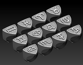12 Zodiac Signs Ring Collection 3D printable model
