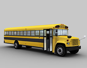 3D asset School Bus Low Poly with interior