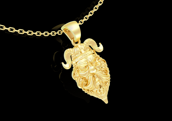 Viking Warrior Face Pendant jewelry Gold 3D print model