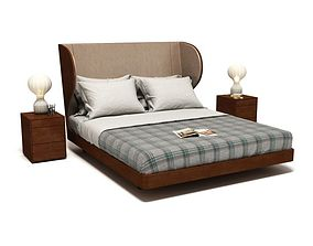 Wooden Bed With Checkered Blanket 3D