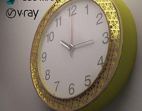 Gold wall clock 3D model