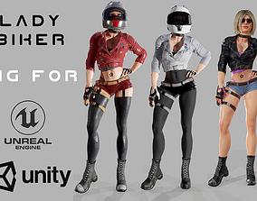 Lady Biker 3D model rigged