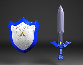 Master Sword and Hylian Shield - Toon Link 3D asset 1