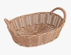 3D Wicker basket oval with handles light brown