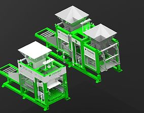 Hydraulic Concrete Brick Block Making 3D print model