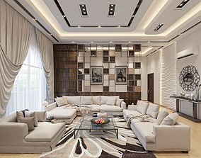 3D Living Room with open Kitchen