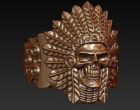Indian skull chief - skullring 3D printable model