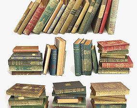 3D model old books on a shelf set 2